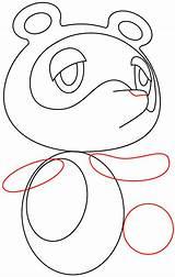 Nook Tom Crossing Animal Drawing Step Draw Tutorial Circle sketch template