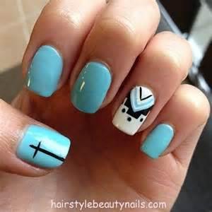 Nails designs aquamarine cross design art