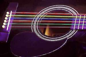 DR Hi Def Neon Multi Color Coated Acoustic Guitar Strings