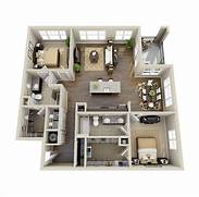 3d Bedroom Design Planner by 10 Awesome Two Bedroom Apartment 3D Floor Plans Architecture Design