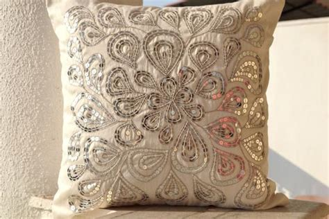Formal Living Room Throw Pillows by Items Similar To Ivory White Throw Pillows With Silver