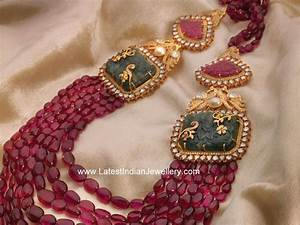 Diamond Designs Ruby Beads Ornate Necklace Latest Indian Jewellery Designs