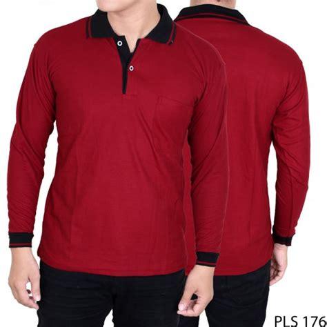kaos pria lengan panjang berkerah lacost pe merah marron kerah hitam pls 176 gudang fashion