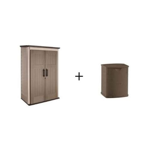 rubbermaid 3 ft x 4 ft large vertical storage shed with 19 gal plastic deck box 1887156w1