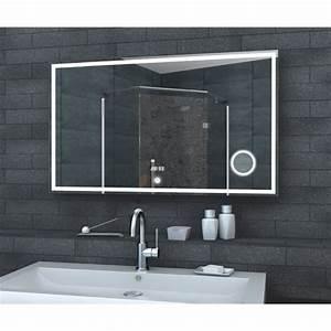 miroir de salle de bain led avec horloge miroir et switch With miroir salle de bain avec horloge