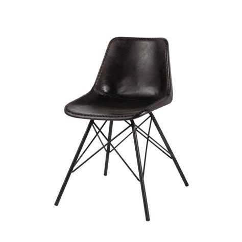 Zwarte metalen en leren industriële stoel Austerlitz