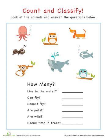 count  classify animals worksheets school