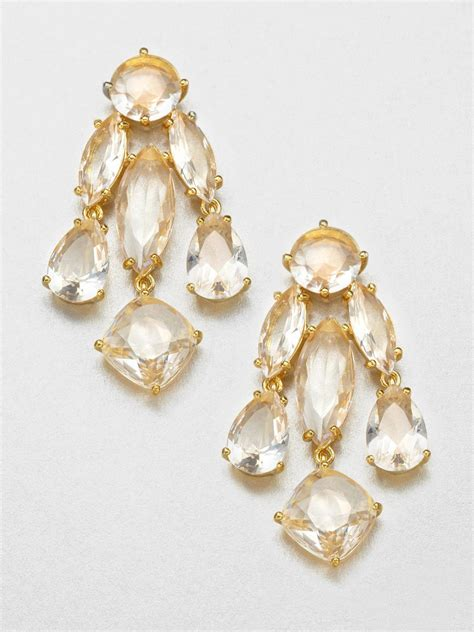 kate spade faceted statement chandelier earrings in gold