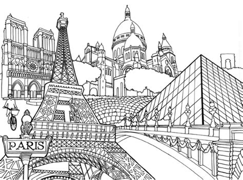 Photos Adult Coloring Books Buildings,  Coloring Page