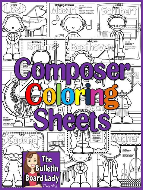 meet  composers set   coloring sheets coloring book    bulletin board lady