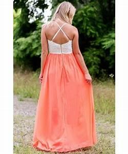 Neon Coral Open Back Maxi Dress Cute Summer Maxi Dress