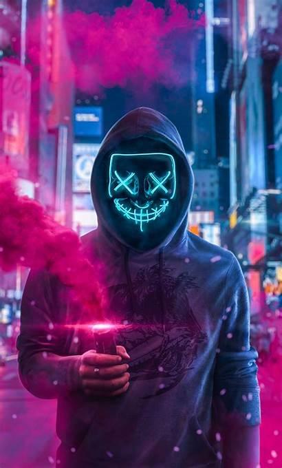 Smoke 4k Bomb Mask Guy Wallpapers Neon