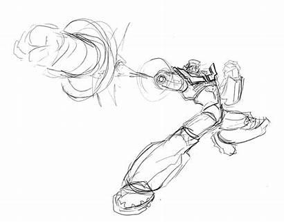 Mazinger Punch Dynamic Pose Rocket Sketch Roughs