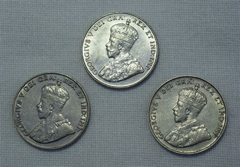 3 Canadian Five Cents Set