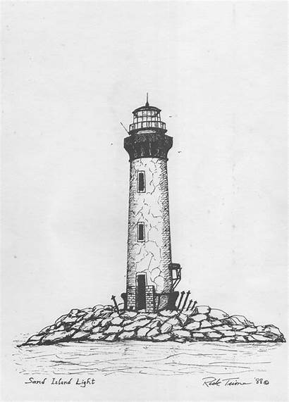 Lighthouse Drawing Clipart Rock Drawn Pencil Clip