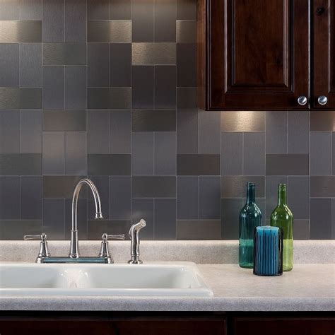 kitchen backsplash stick on aspect 3x6 inch brushed stainless grain metal tile 8