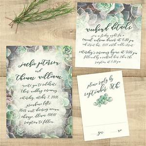 Succulent wedding invitation suite suite succulents pixie for Wedding invitations with succulents