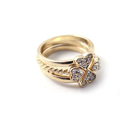 new style design of new clover brillian ring combination sutiable for wedding occasion in rings