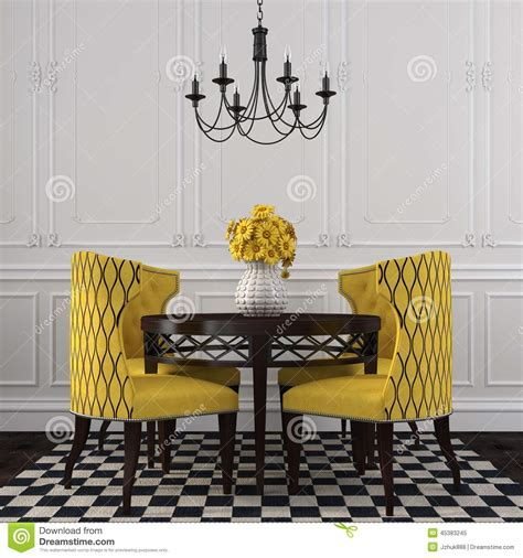 la salle a manger voiron l int 233 rieur 233 l 233 gant de la salle 224 manger avec les chaises jaunes photo stock image 45383245