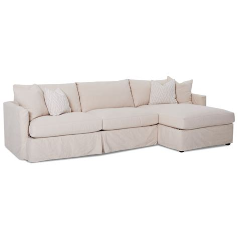 Sectional Slipcover Sofa by Klaussner Leisure 2 Pc Sectional Sofa With Slipcover And