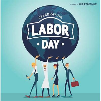 Labor Day poster with workers holding the world - Vector