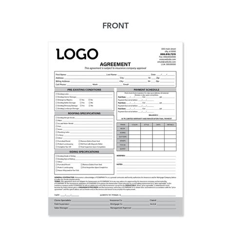 carbonless agreement invoice forms  roofers design