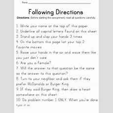 A Lesson On Following Directions Worksheet