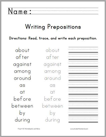 grade language arts worksheets prepositions