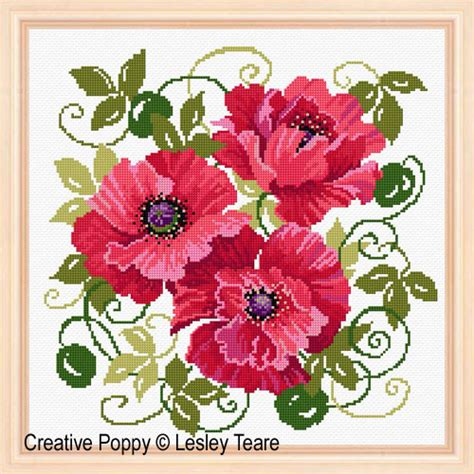 lesley teare designs red poppies cross stitch pattern