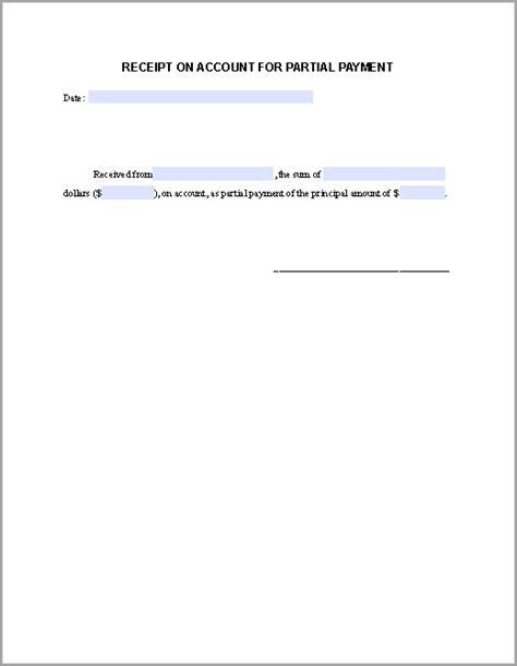 partial payment receipt template  fillable  forms