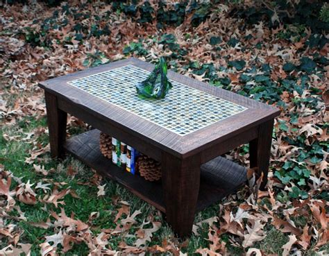 coffee table with shelf tile mosaic reclaimed wood