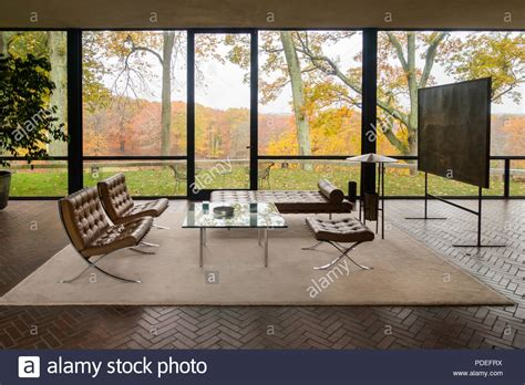 livingroom johnston the glass house by philip johnson in new canaan stock