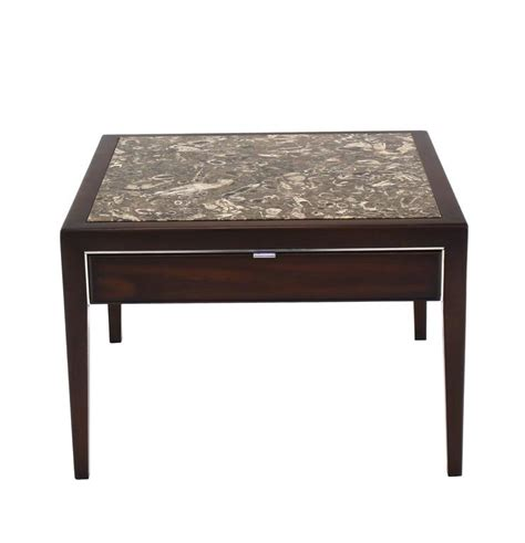 marble top end tables with drawers square marble top walnut one drawer side table for sale at 1stdibs