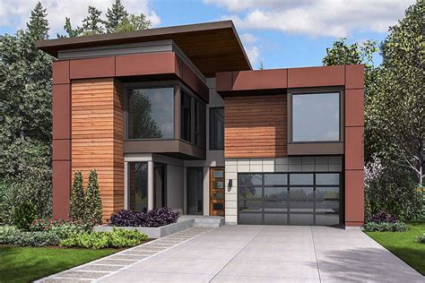 Narrow Lot Modern House Plan