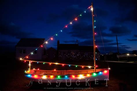 christmas boat with lights in nantucket holidays