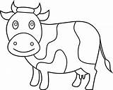 Cow Coloring Clip Clipart Line Sweetclipart sketch template