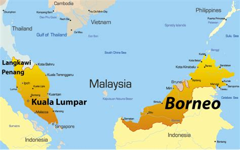 borneo map showing attractions accommodation
