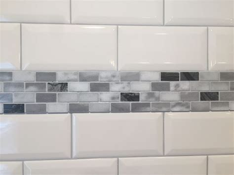 home depot stone white beveled subway tiles  marble