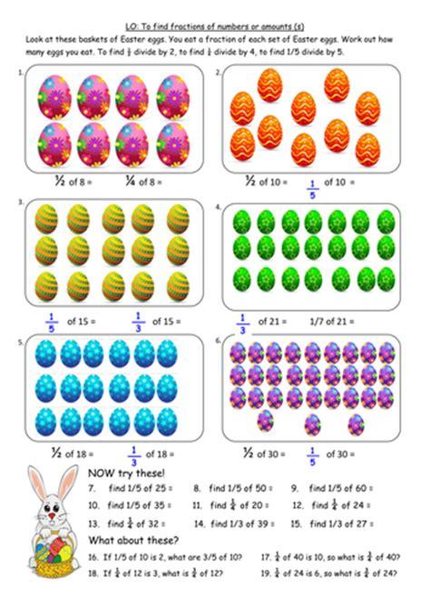 finding fractions  amounts easter worksheet