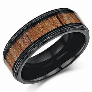 his hers black titanium wedding ring band set with koa With titanium wedding ring sets