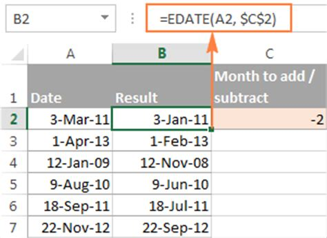subtract excel add days weeks months years date