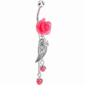 Pink Neon Rose Angel Wing Dangle Belly Ring