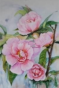 Blumen Bilder Gemalt : blumen kamelien original aquarell 24x32 cm das bild ist ein original aquarell auf ~ Orissabook.com Haus und Dekorationen