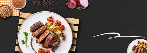 high steak top view plain black banner delicious food
