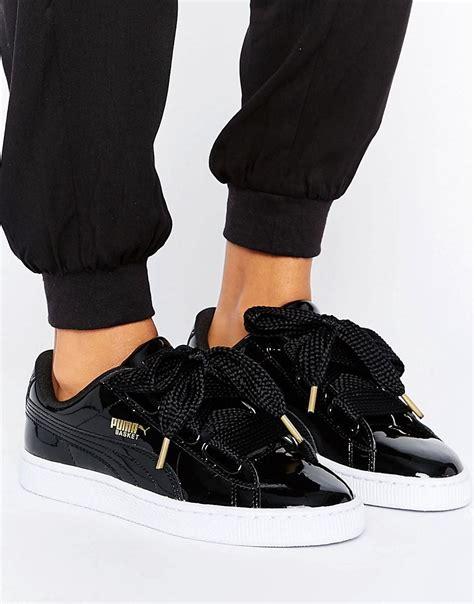puma basket heart sneakers  patent black  black lyst