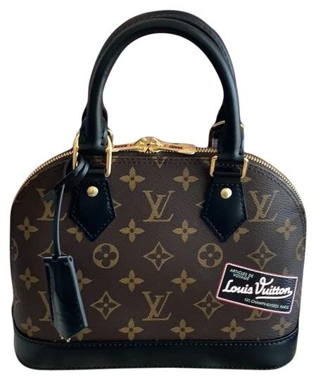 louis vuitton alma bb custom world  monogram black coated canvas cross body bag tradesy