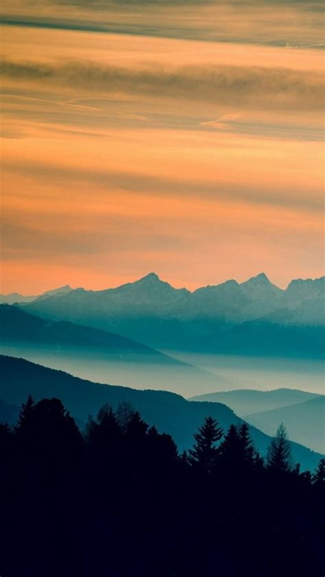Blue Nature Wallpaper For Mobile by Blue Mountains Orange Clouds Sunset Landscape Iphone