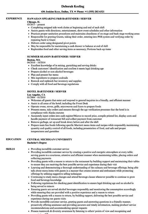 Resume For Bartender by Great Bartender Description For Resume Images Sle Pdf