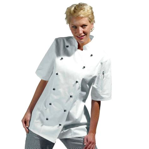veste de cuisine femme manches courtes cintrée coton sergé
