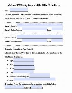 free maine atv boat snowmobile bill of sale form pdf With snowmobile bill of sale template